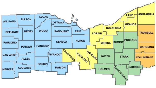 Counties Served By Division Northern District Of Ohio United